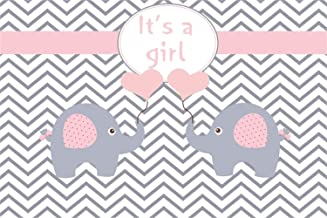 Laeacco 7x5ft Girl Baby Shower Backdrop Vinyl It's a Girl Cute Pink Ear Calf Elephants Holding Pink Heart Balloons Chevron Stripes Illustration Background Childish Gender Reveal Birthday Party Banner