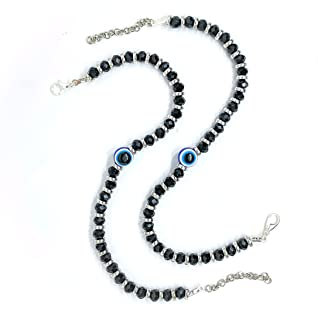 The Bling Stores Unisex Beautiful Stainless Steel Glass with Blue Sapphire Husband/Wife Combo Evil Eye Nazariya Karvachaut...