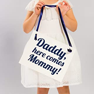 Daddy Here Comes Mommy Sign for Ring Bearer Or Flower Girl | Navy Blue Ink on Ivory Paper
