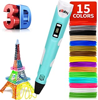 eXuby 3D Pen w/ 15 PLA Filament (150 Feet) - Perfect for Kids & Adults - Best 3D Printing Pen Starter Kit - Easy Loading - LCD Screen - Heats Quickly