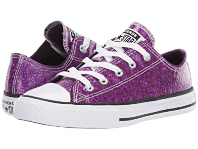 Converse Kids Chuck Taylor(r) All Star(r) Gloss Ox (Little Kid/Big Kid) (Grand Purple/Black/White) Girls Shoes