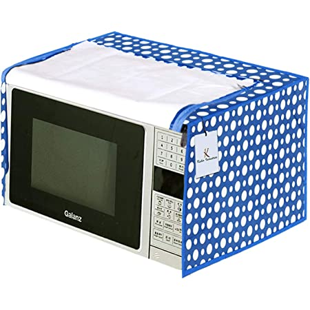 Kuber Industries Polka Dots Design PVC Microwave Oven Full Closure Cover for 20 Litre (Blue) CTKTC33222