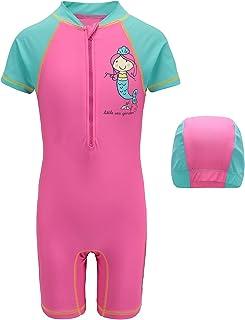 HowJoJo Girls One Piece Rash Guard Swimsuits Kids Short Sleeve Sunsuit Swimwear