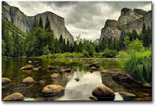 Green Wall Art Painting Yosemite National Park Clear Water Lake Mountain Trees Rocks..