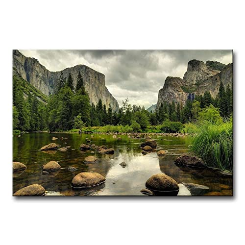 Green Wall Art Painting Yosemite National Park Clear Water Lake Mountain Trees Rocks Pictures Prints On Canvas Landscape The Picture Decor Oil For Home Modern Decoration Print For Items
