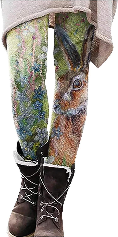 Wocachi Warm Leggings for Women, Bohemian Floral Animal Print Boho Slim Tights Pants Casual Long Boot Leggings Pants