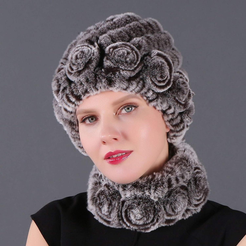 BELEMON Women Winter Hat mart Scarf Set Warm Thick Real Fur Phoenix Mall Lady