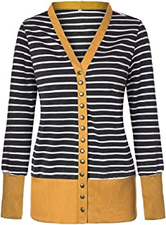 Energy Womens Stripes Single Breasted Knit Slim Patched Outwear Jacket