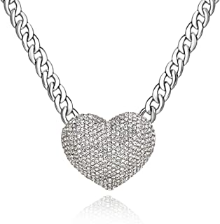 Women's Statement Sparkly Heart Necklace Blingbling Rhinestone Chunky Chain Necklace Punk Rock Style Costume Jewelry