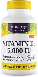 Healthy Origins Vitamin D3 Gels 5. 000 IU 360 capsules