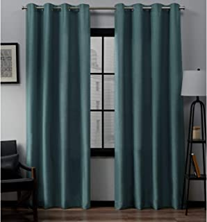 Exclusive Home Curtains Loha Linen Grommet Top Curtain Panel Pair, 52x96, Blue Teal