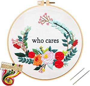 Louise Maelys Funny Embroidery Kit for Beginner Floral Wreath Cross Stitch Adults Needlepoint Kit DIY Embroidery Starter Kit for Decor Gifts