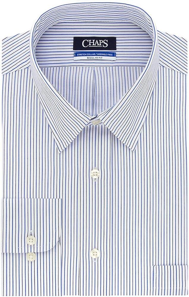 Chaps Men's Elite Performance Stripe Regular-Fit Stretch Collar Dress Shirt, French Blue