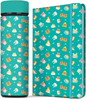 Controller Gear Animal Crossing Teal Icons Stainless Steel Water Bottle & Hard Cover Journal Notebook Set [2 Pack] Animal ...