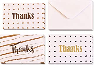 """Boxed Pack of 24 Thank You """"Thanks"""" Greeting Cards with Envelopes, 3 Elegant and Attractive Designs, 8 Cards of Each Design, High Quality 15cm by 10cm Cards"""