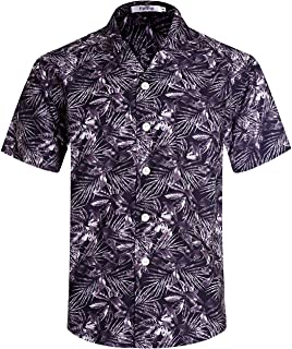 ELETOP Men's Linen and Cotton Shirt Short Sleeve Slim Fit Shirt Causal Button Down Floral Shirt