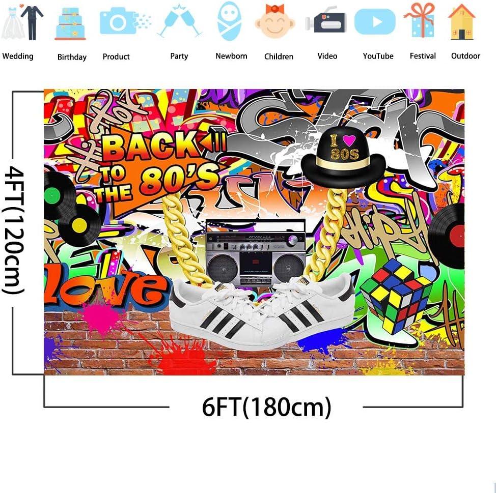 Mocsicka 6x4ft Back to The 80s Backdrop I Love 80s Hip Pop Bakground Vinyl Graffiti Wall 80s Backdrops