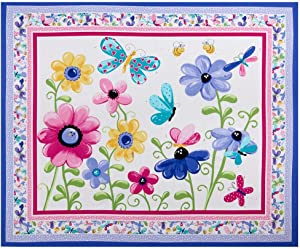 Hamil Textiles Susybee Flutter The Butterfly Floral Quilt & Play mat 35.5'' Panel Fabric, Lilac-Multi
