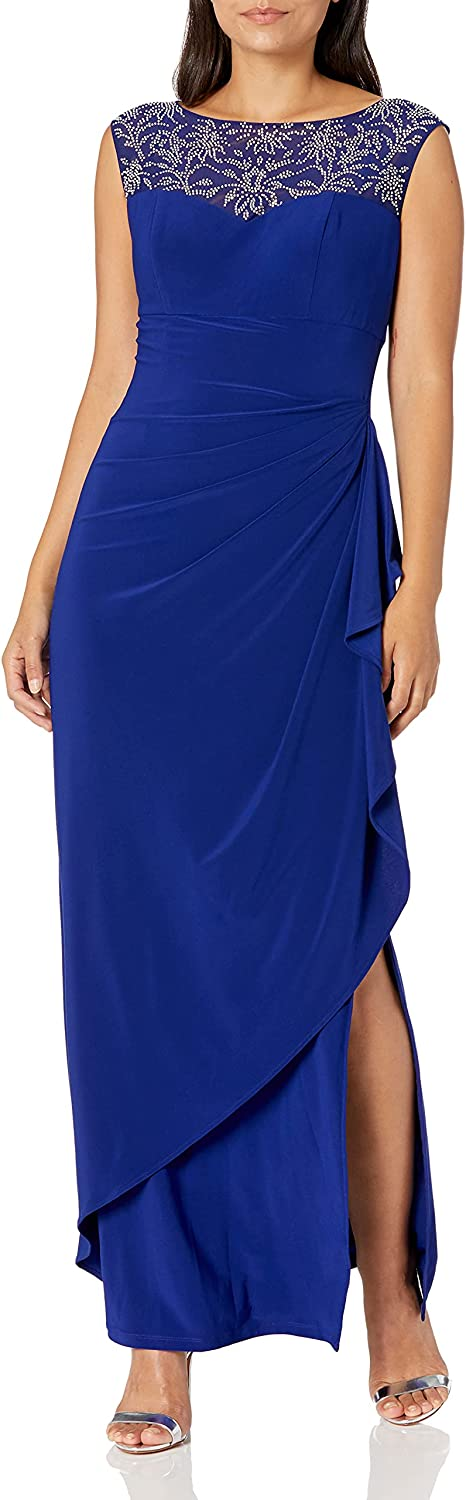 Alex Evenings Women's Long Lowest price challenge Column Dress Sweetheart Neck with Pe Max 55% OFF