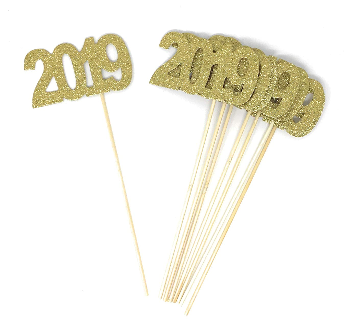 8 pack of Double Sided Gold Glitter 2019 Centerpiece Sticks in Various Colors for DIY Graduation and New Years Decor (Gold)