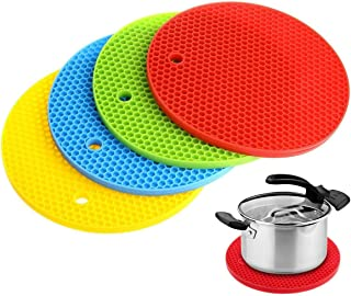 4pcs Silicone Kitchen Mats Non Slip Dish Drying Pot Mat Thick Trivet Coasters Round Honeycomb Texture Heat Resistant Pads ...