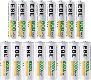 EBL 単三・単四充電池セット16本入り 単3形充電池大容量2300mAh 8本パック+単4形充電池800mAh 8本パック 充電式ニッケル水素電池 AA電池 AAA電池 防災電池