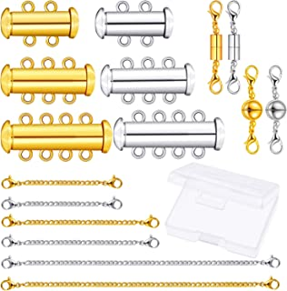 16 Pieces 3 Sizes Slide Clasp Locks Tube Multi Strands Clasps Magnetic Lobster Clasps and Chain Extenders with Storage Box