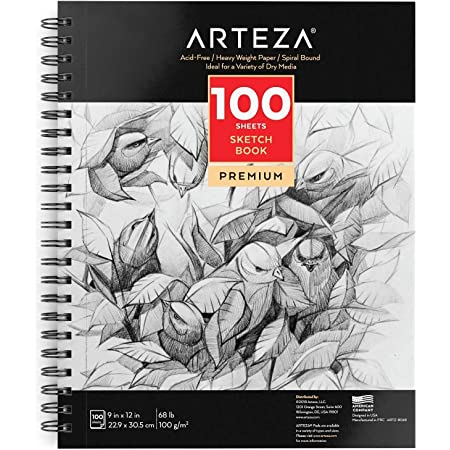 """Arteza 9X12"""" Sketch Book, 100 Sheets (68 lb/100gsm), Spiral Bound Artist Sketch Pad, Durable Acid Free Drawing Paper, Ideal for Adults & Teens, Bright White"""