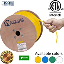 CAT6A Plenum (CMP) Bulk 1000ft Certified 100% Pure Solid Bare Copper Ethernet Cable [ETL Listed] | 750MHz, 23AWG, UTP - Yellow