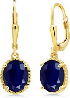 5.00 Ct Oval Blue Sapphire 18K Yellow Gold Plated Silver 27mm Length Dangle Earrings