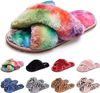TQGOLD Chaussons Femmes Peluche Pantoufles Fausse Fourrure Bout Ouvert Accueil Chaussures Léger Antidérapant Slippers