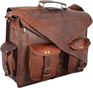 Cartella per borsa per laptop Messenger in vera pelle fatta a mano, borsa in vera pelle rustica duratura a mano
