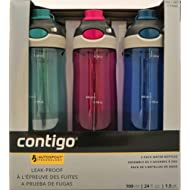 Contigo AUTOSPOUT Chug Leak-Proof Water Bottles 24oz, 3 Pack (Turquoise, Pink, Blue)