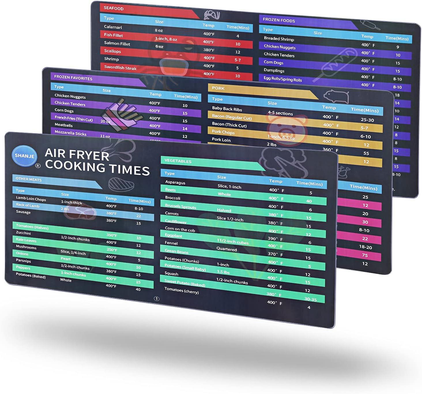 Air Fryer Magnetic Cheat Sheet Set of 3, SHANJE 10.7 x 7
