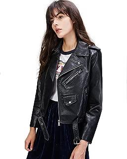 Women's Faux Leather Motorcycle Jacket PU Slim Short Biker Coat