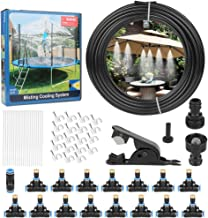 Outdoor Misting Cooling System 50FT (15M) Outdoor Misters Automatic Plant Water Irrigation Fan Misting Mister Kit with 15pcs Brass Nozzles and a 3/4