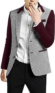 Uxcell Men's Plaid Pattern Button Down Slim Fit Casual Jacket Blazer