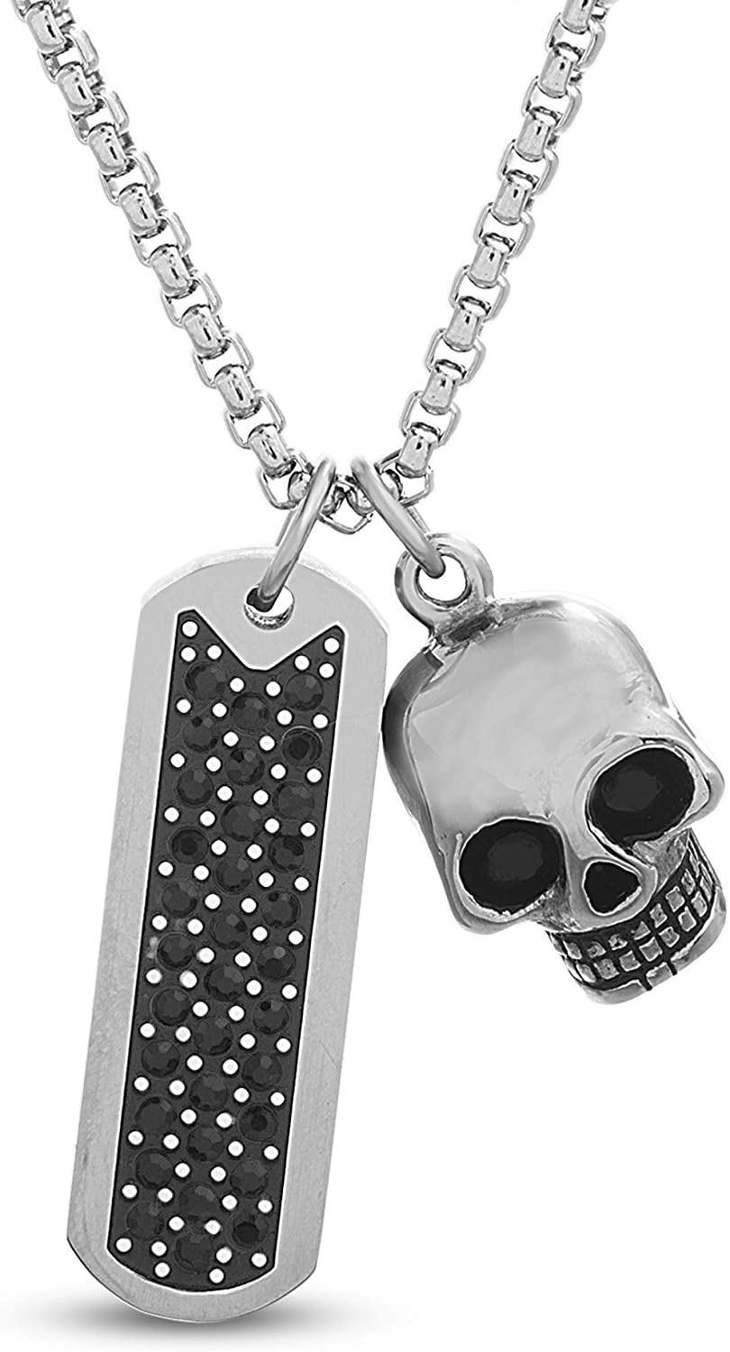 Steve Madden Oxidized Stainless Steel Black Crystal Bar and Skull Necklace for Men 26 inch Box Chain