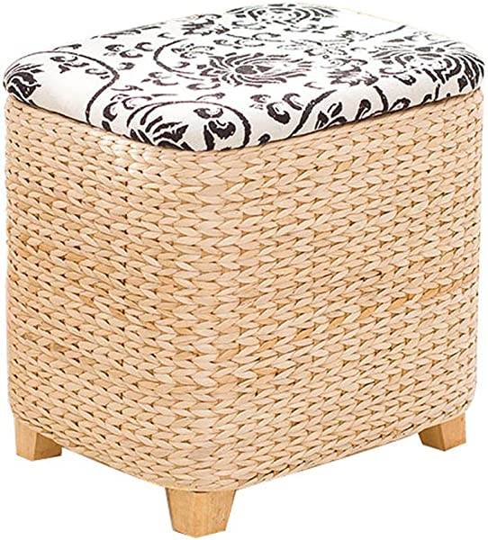 Straw Storage Stool Square Footstool Home Storage Stool Solid Wood Rattan Shoe Bench Suitable For Living Room Bedroom Various Optional