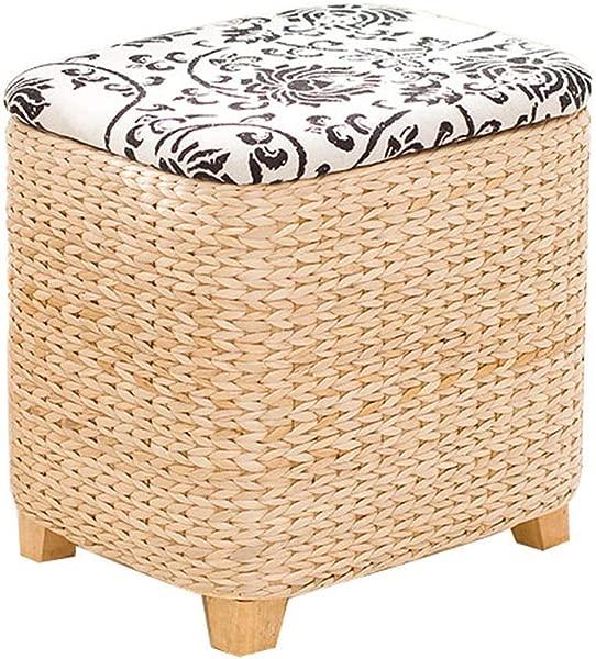 草编收纳凳方形脚凳家用储物凳实木藤编鞋凳适用于客厅卧室各种可选