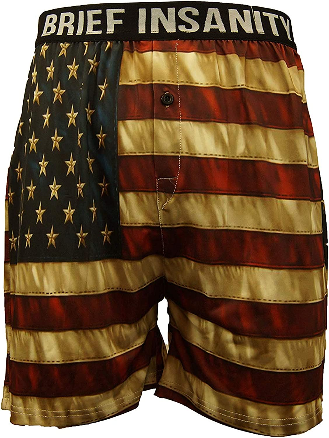 BRIEF INSANITY Patriotic Boxer Briefs for Men and Women | American Flag Print Boxer Shorts - USA Underwear