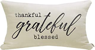 """Best Meekio Farmhouse Pillow Covers with Thankful Grateful Blessed Quote 12"""" x 20"""" Farmhouse Rustic Décor Lumbar Pillow Covers with Saying Housewarming Gifts Family Room Décor Review"""