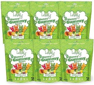 GELATIN-FREE Honey Gummy Bears - Lovely Co. 6oz Bag - Cherry, Lemon, Orange & Apple Flavors | | NO HFCS, Gluten-Free, Pean...