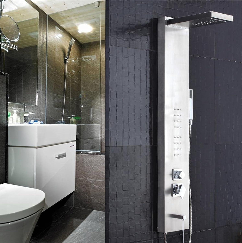 Caribou Edelstahl, Multifunktionshebel, Dusche Turm Fingerprint-Free Badezimmer Luxus Mixer Duschkombination, Gebürstet,  1.