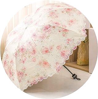 傘日傘ダブルレース傘雨兼用傘日焼け防止傘UV傘折りたたみ傘,ルージュパウダー