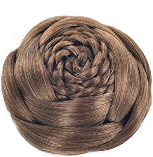 USIX Braided Hair Bun Flower Shaped Hair Piece Updo Braided Bun Braided Chignon Hairpiece with Built-in Combs for Women Girls Party Wedding Hairdos Dancing Costume Hair Accessory (2005)