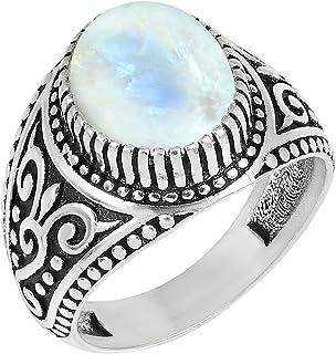 MIRRAMOR Anillo de amatista de lapislázuli natural de piedra lunar 9 x 11 mm, forma ovalada, anillos solitarios para mujer...