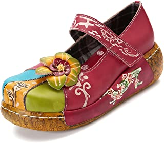 Wedges Sandals,Women's Leather Handmade Colorful Flower Vintage Slip-on Shoes Platform Sandals
