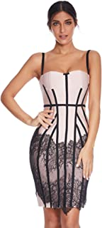 Womens Mesh Lace Bodycon Bandage Party Club Dresses