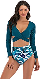 Wellwits Women's Long Sleeves Wrap Push up High Waist Print Bikini Swimsuit